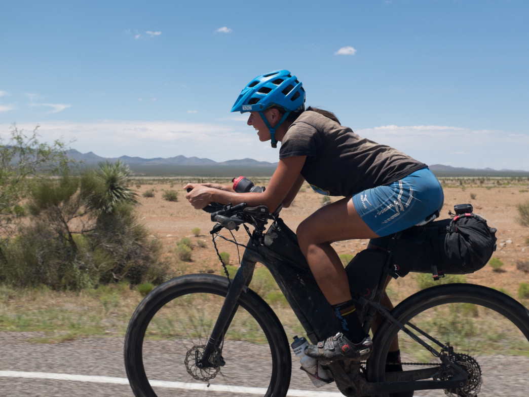 Racing to the conclusion of her record breaking ITT (individual time trial) of the Tour Divide