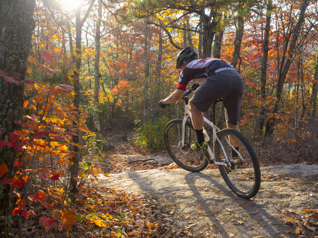 Jeff Bartlett riding the Big Rock trail at DuPont State Forest in North Carolina.