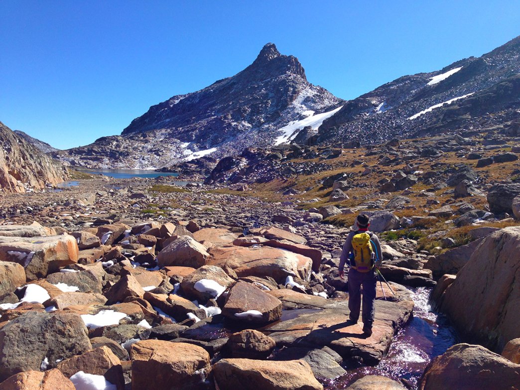 Sky Lakes basin below Granite Peak. The Spires loom in the distance.