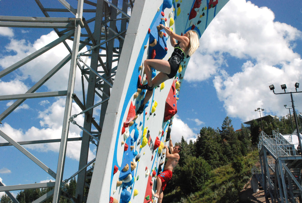 Take on the park's climbing wall and you could end up getting wet.