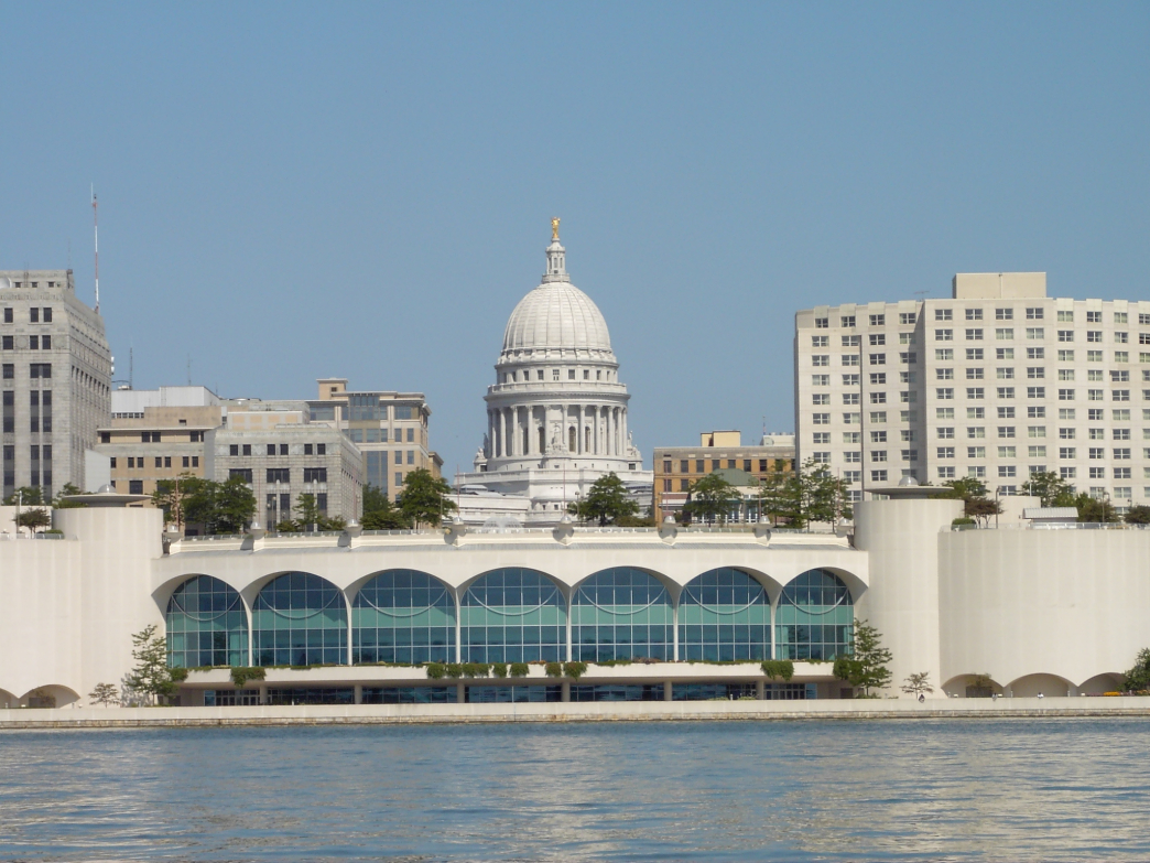 A view of Madison's capitol from Lake Monona.
