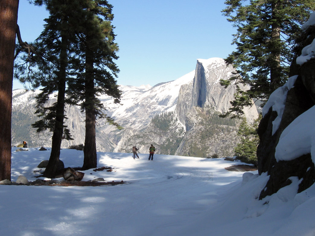 Breathtaking backdrops like Half Dome await at backcountry ski huts in Northern California.