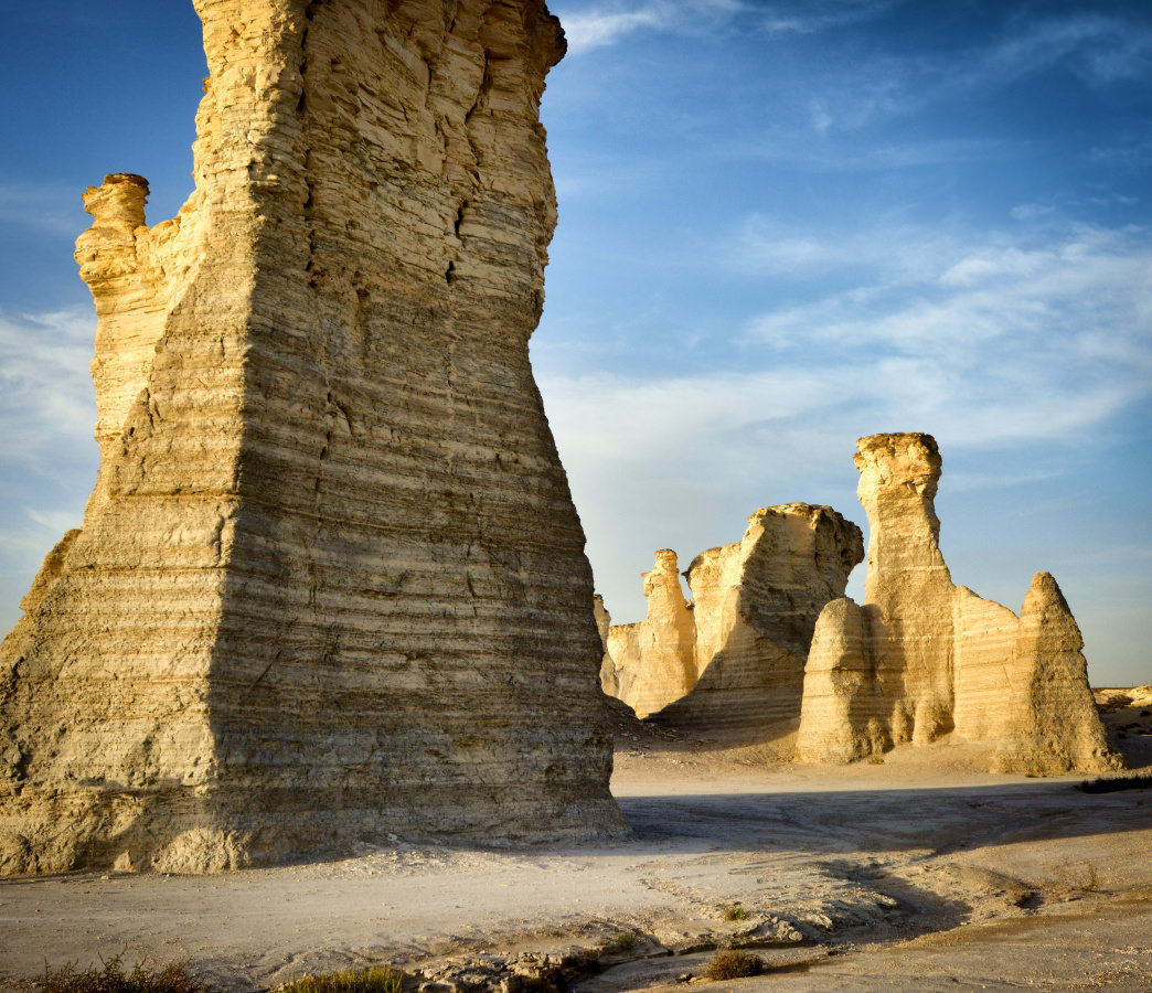 Monument Rocks is also known as the Chalk Pyramids.