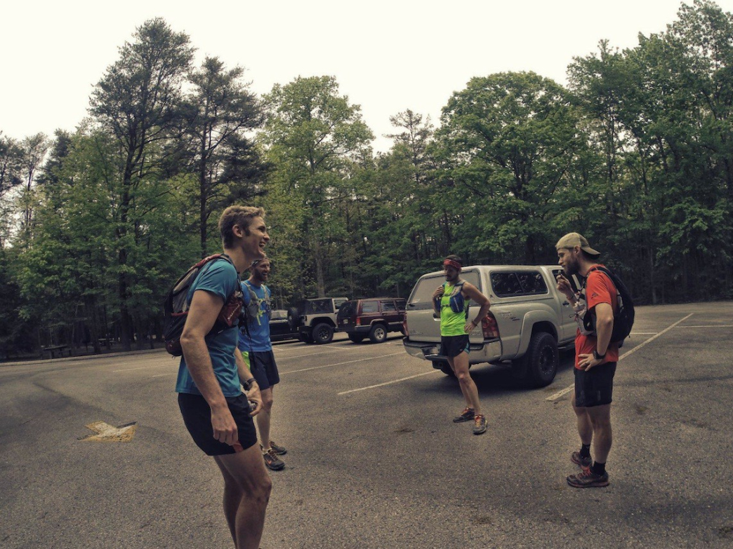 Goodwin at the Savage Gulf Trailhead with running partners and friends.