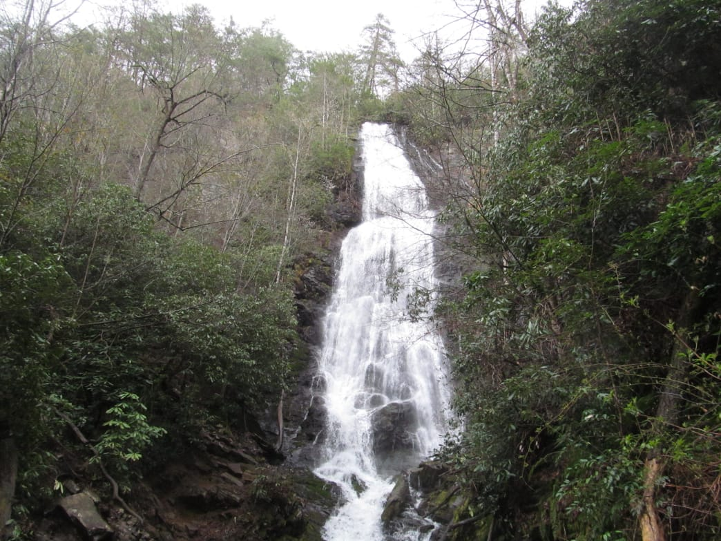 Mingo Falls descends 120 feet in a narrow cascade.