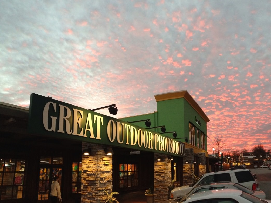 Even sunsets are better from the doorstep of an Great Outdoor Provision Co. store.