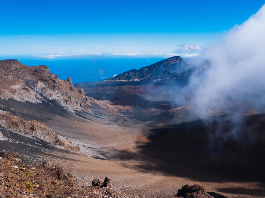 Looking down into Haleakalā.
