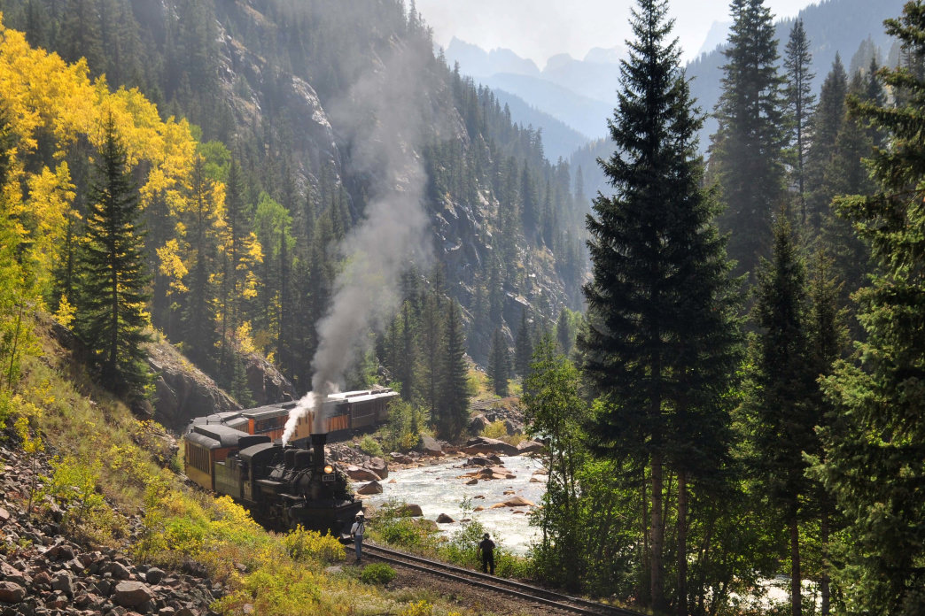 Passengers can still ride the Durango and Silverton Narrow Gauge Railroad to take in the views of the Animas River Valley.
