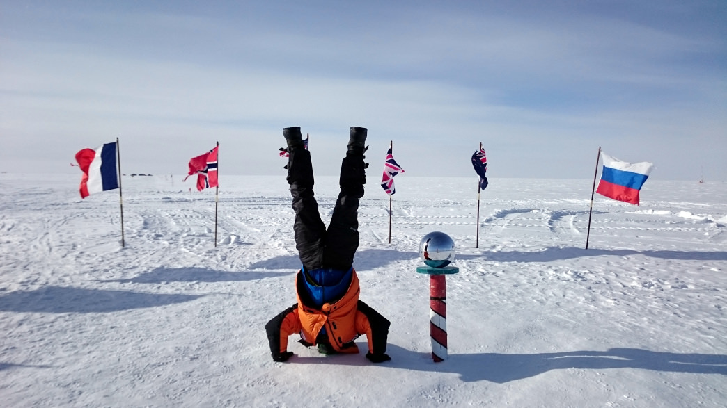 Celebrating arriving at the South Pole.