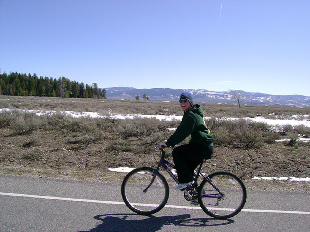 Bike on Grand Teton Park Road after it's closed to cars for the season.