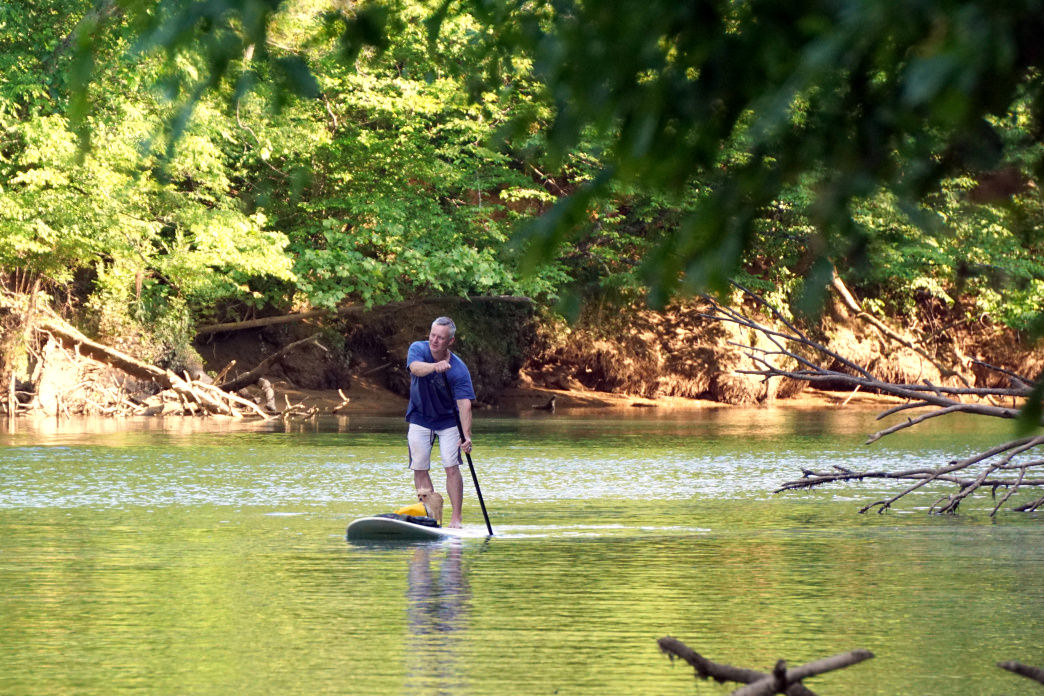 You can spend time with your dog on the trails in the Chattahoochee River National Recreation Area—or on the river itself.
