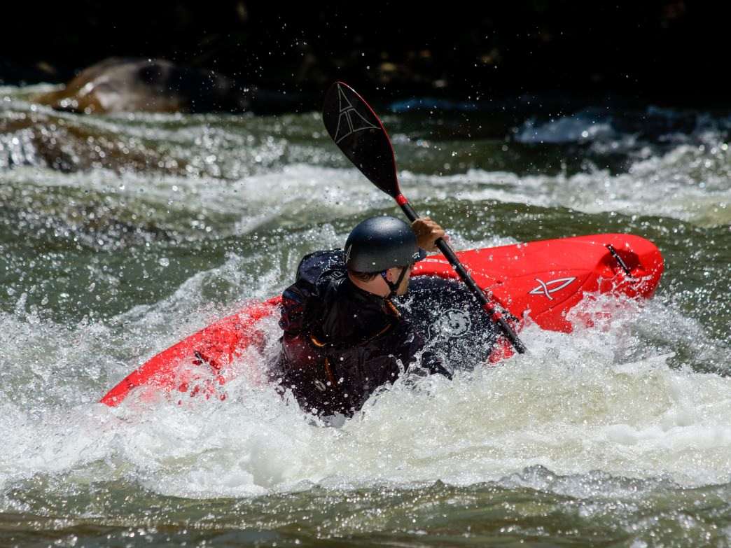 A kayaker attacks a set of rapids on the Ocoee.