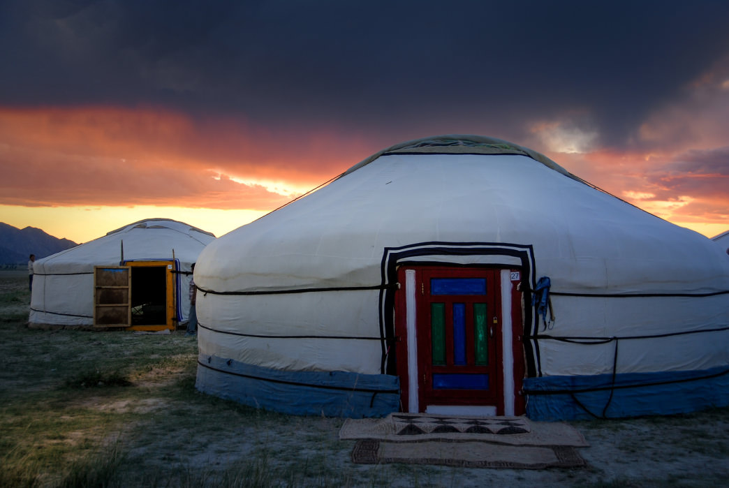 A yurt-style tent can accommodate several people. Unfortunately, you can't carry one around with you.