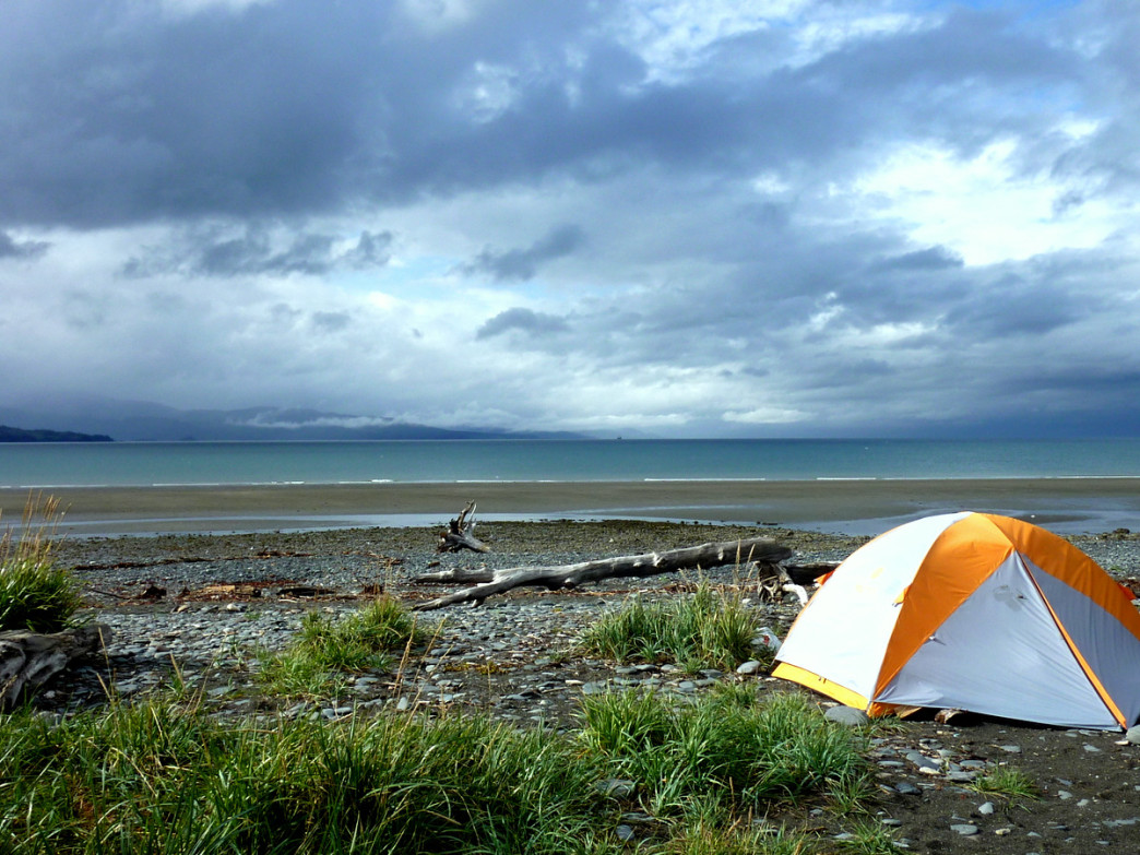 Camping on Homer Spit where Katchemak Bay and Cook Inlet merge.