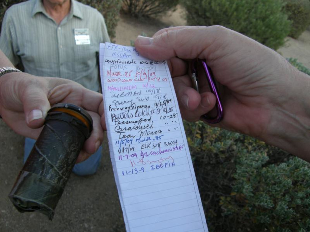 A typical geocache logbook.
