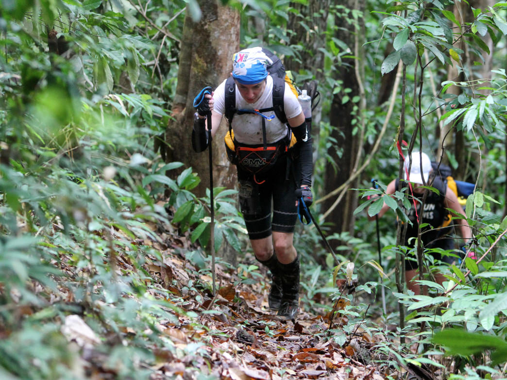 Kathleen Hamrick in the midst of the grueling Jungle Ultramarathon.