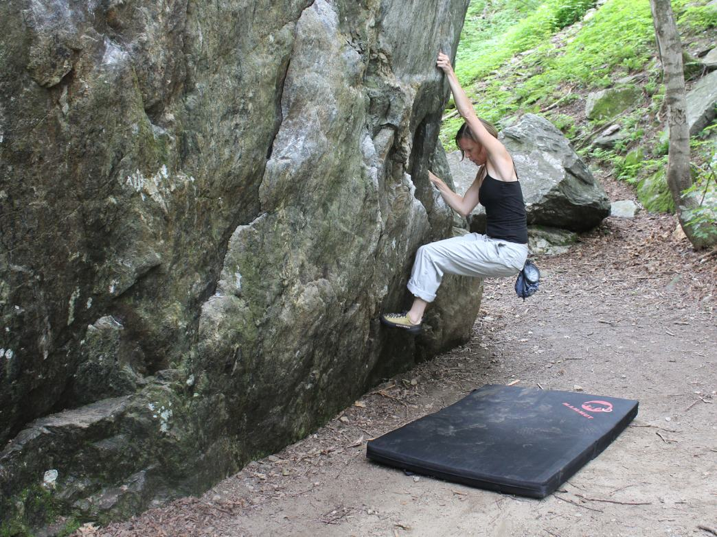 Having fun bouldering at Smuggs