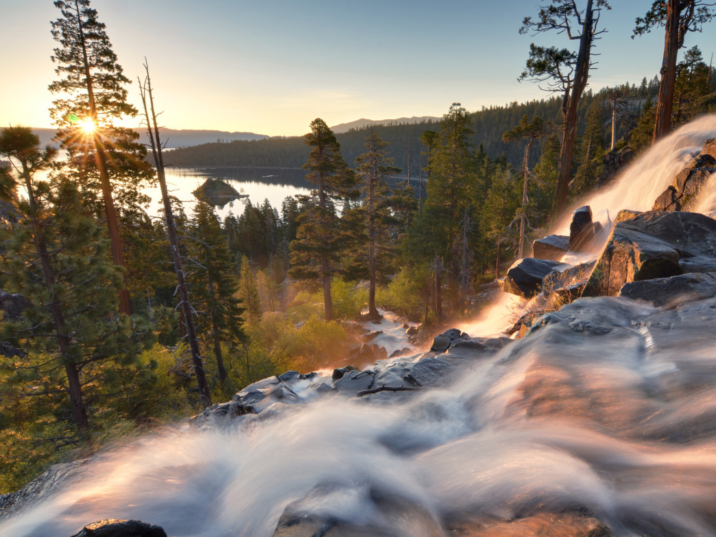Eagle Falls spills dramatically into iconic Emerald Bay.