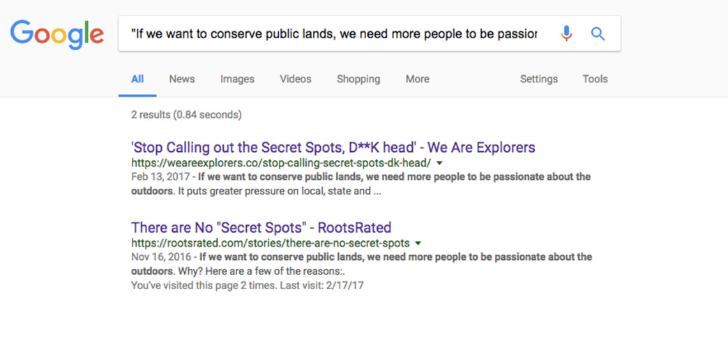 Interesting. This sentence appears on exactly two websites, with RootsRated.com being the original, published in November 2016.     google.com