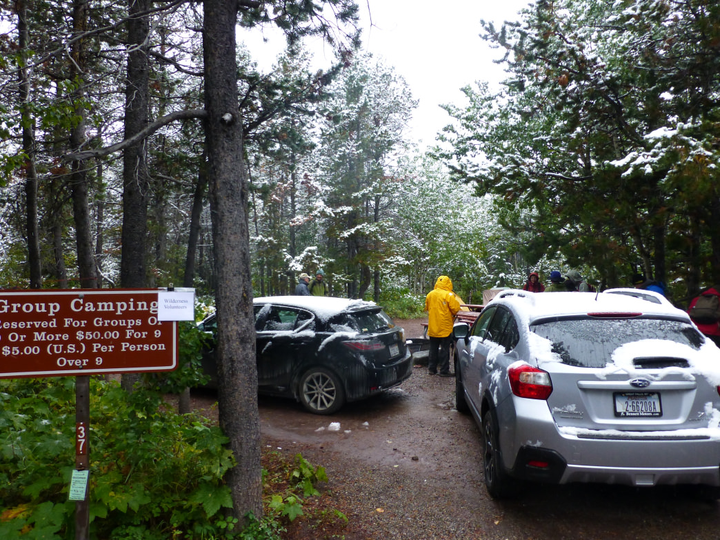 Parking at a snowy campground in Glacier National Park.