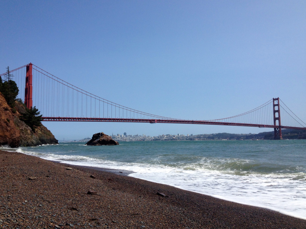Views of the Golden Gate Bridge and San Francisco from the beach at Kirby Cove