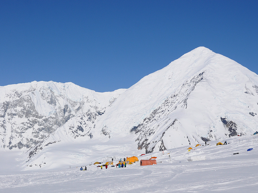 A tent city springs up each year at the National Park Service's base camp on Kahiltna Glacier.