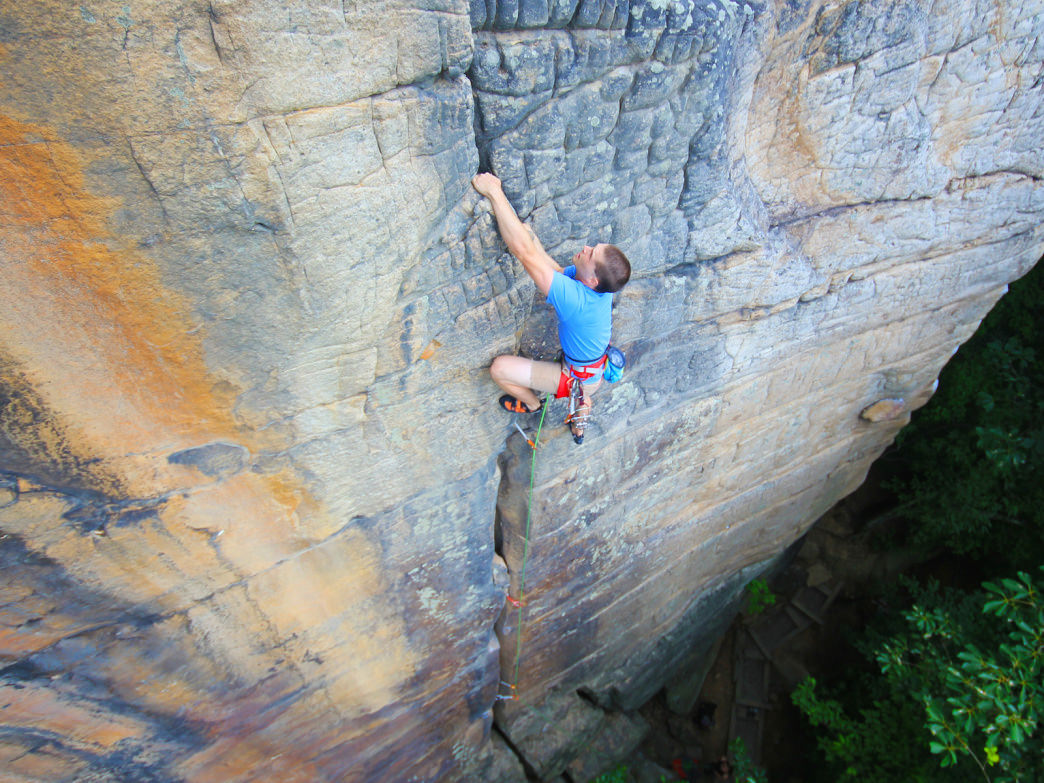 Chris Wisenhunt on the New's first official rock climb, Zag (5.8, Bridge Buttress).