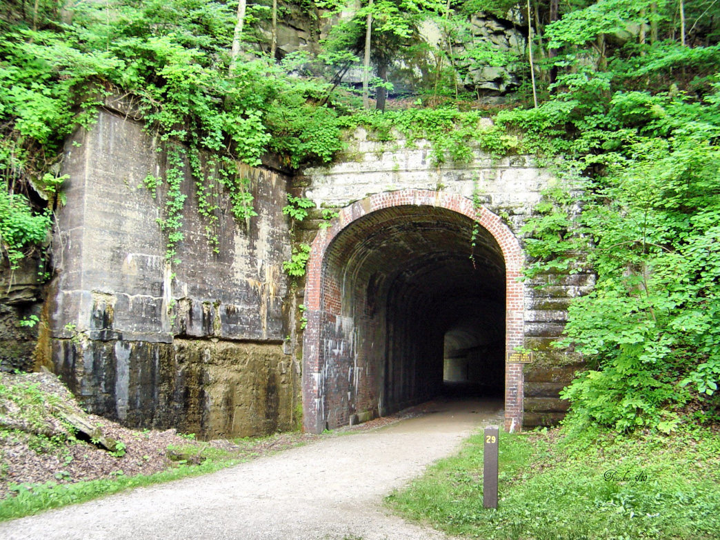 The North Bend Rail Trail travels through 13 tunnels.