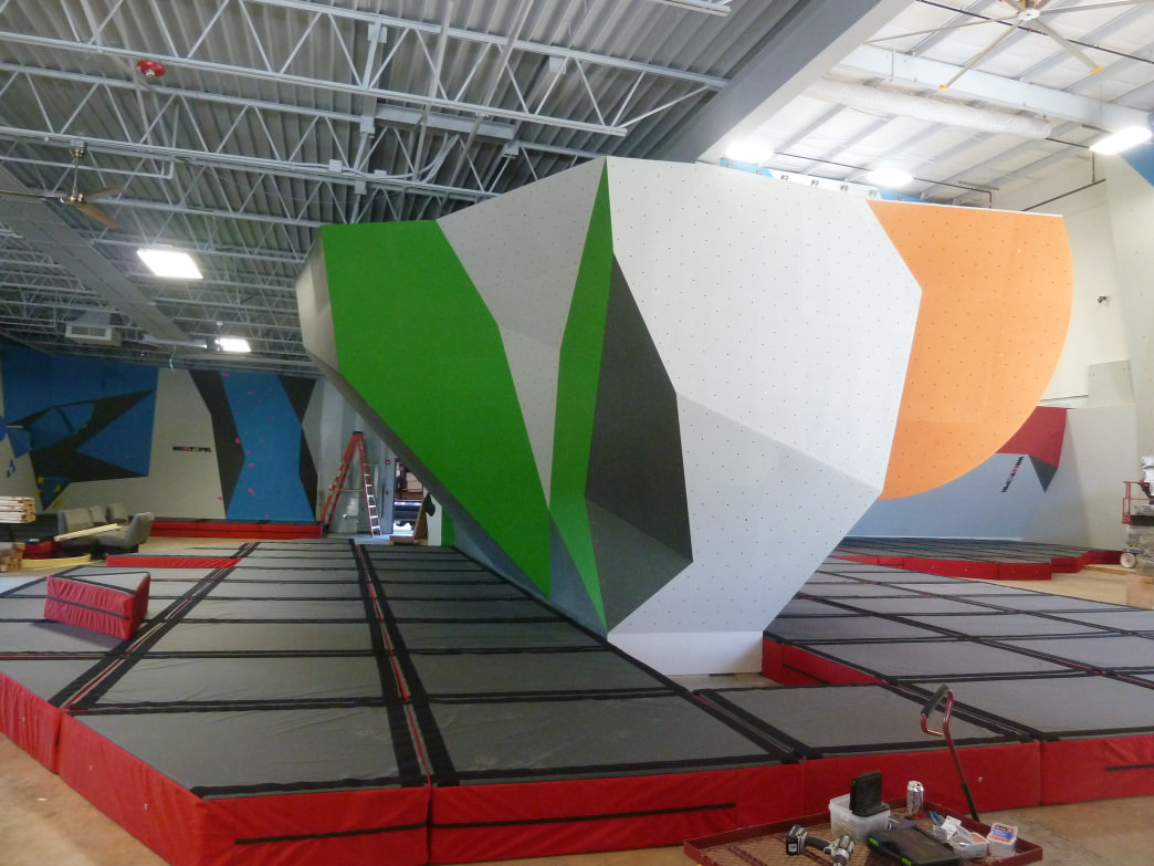 The clean, modern bouldering area is a mix of form and plenty of function