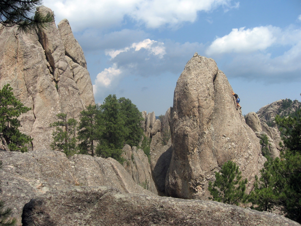 The Cathedral Spires of the Black Hills offer classic multi-pitch trad routes