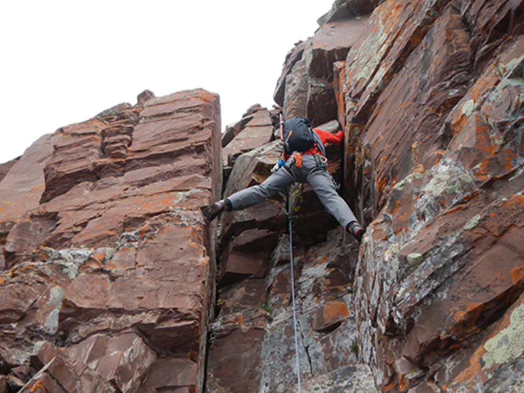 Rob Coppolillo leads the last chimney pitch on the traverse.