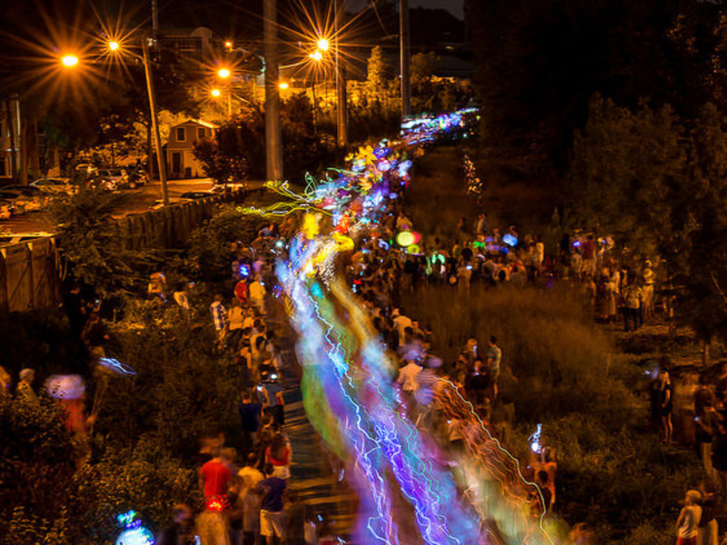 The Atlanta Beltline Parade lights up Atlanta's popular pedestrian bi-way.
