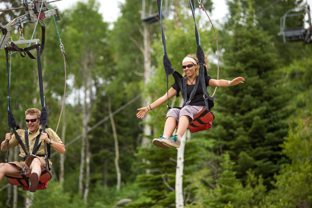 The zipline is one of the park's most popular rides.