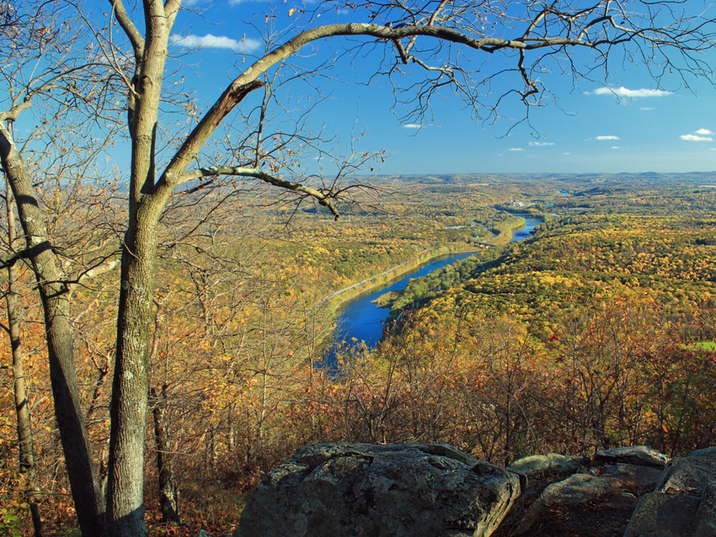 Delaware River Valley as seen from the Appalachian Trail east of Totts Gap, within the Delaware Water Gap National Recreation Area.