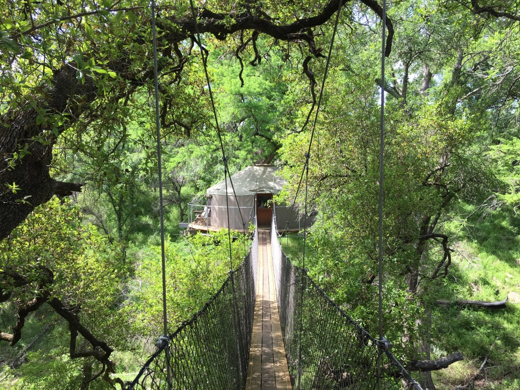 Glamping high in the treetops at Cypress Valley Canopy Tours.