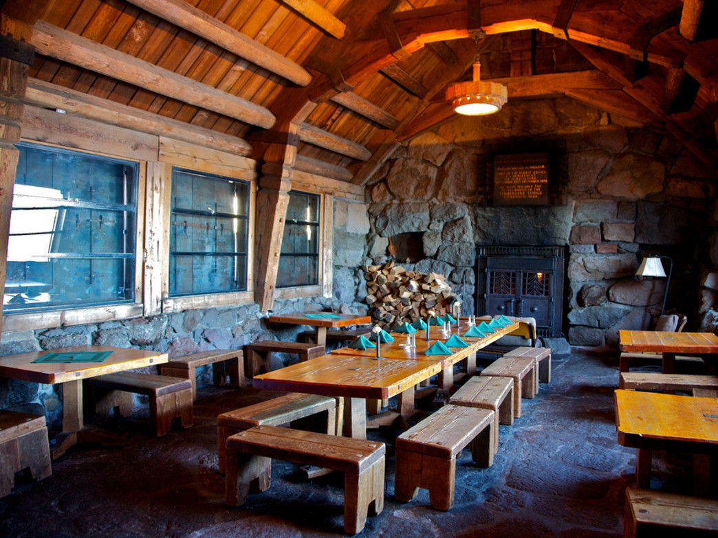 The Silcox Hut at Mt. Hood's Timberline Lodge is a fantastic place to enjoy some apres-ski eats.