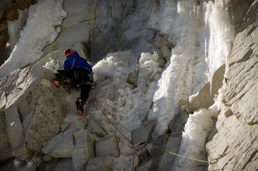 Takeda navigates sketchy alpine terrain in the Cordillera Blanca range of the Peruvian Andes.