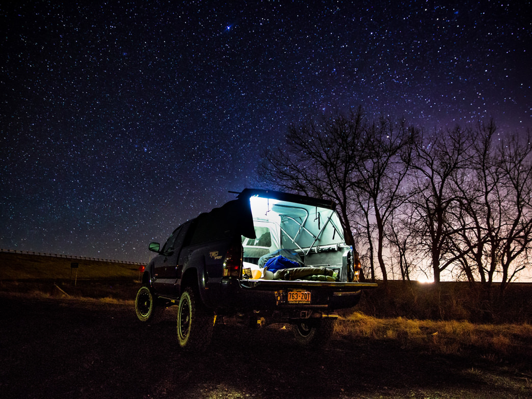 Tranquility and a starry-sky view at a roadside campsite in Montana.