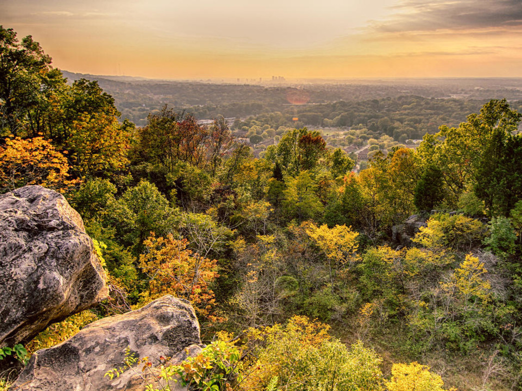 The trails on Ruffner Mountain offer spectacular views of Birmingham.