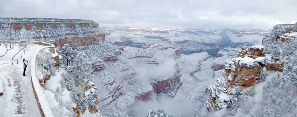 Few people visit the Grand Canyon in the winter although the views are spectacular that time of year.&lt;br /&gt;<br />     NPS photo by Michael Quinn