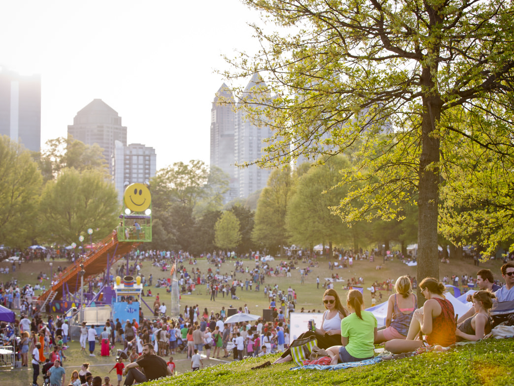 Spring is a great time to explore the outdoors in Atlanta, like at the Dogwood Festival at Piedmont Park.