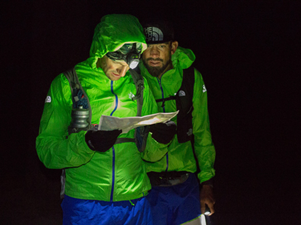 Wolfe and Koerner navigating the John Muir Trail during their  record-setting run.