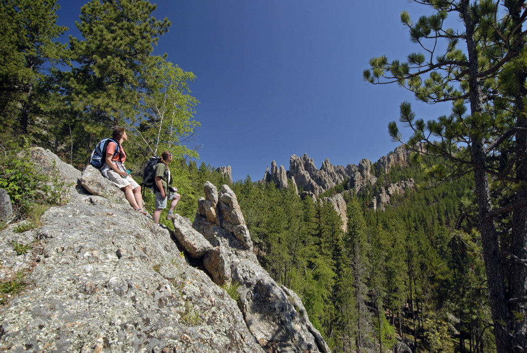 The iconic Cathedral Spires Trail in Custer State Park features some of the most impressive vistas in the state.