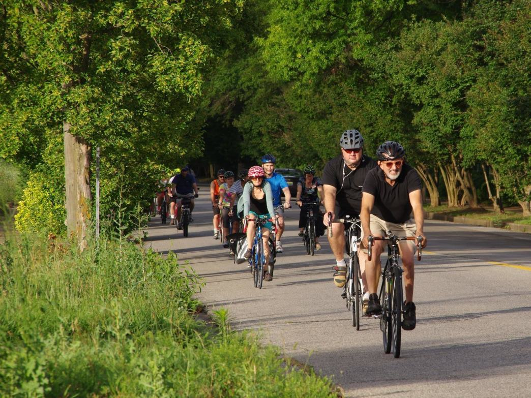 Cyclists enjoy beautiful scenery around the city of Birmingham every Tuesday evening.