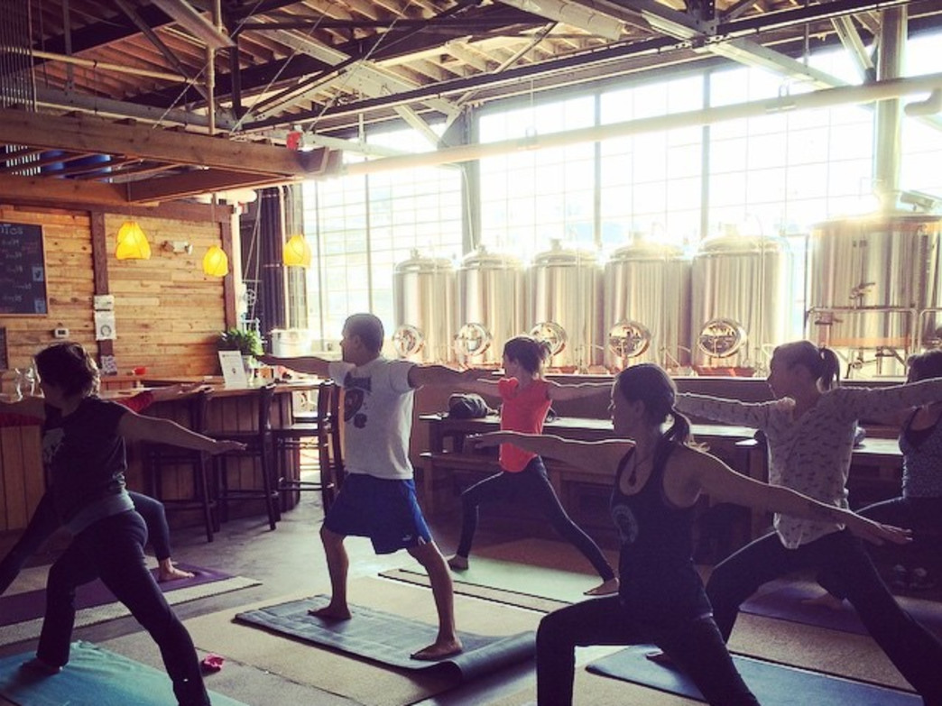 Warrior Pose in the sunlit Twin Leaf Brewery.