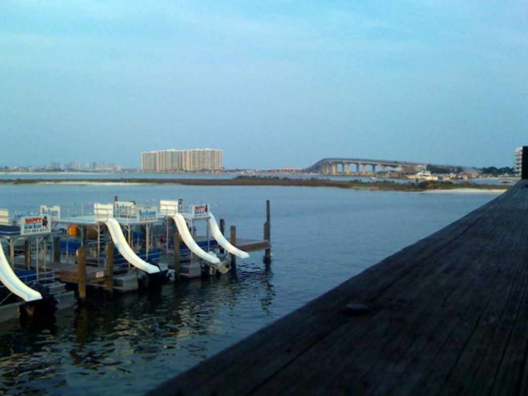 The view of Perdido Pass from Tacky Jack's Restaurant.