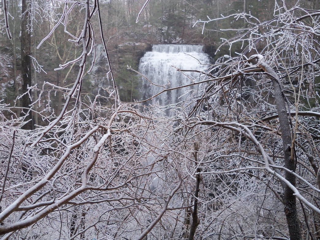 Waterfalls, like Virgin Falls here, take on a new look in the winter.