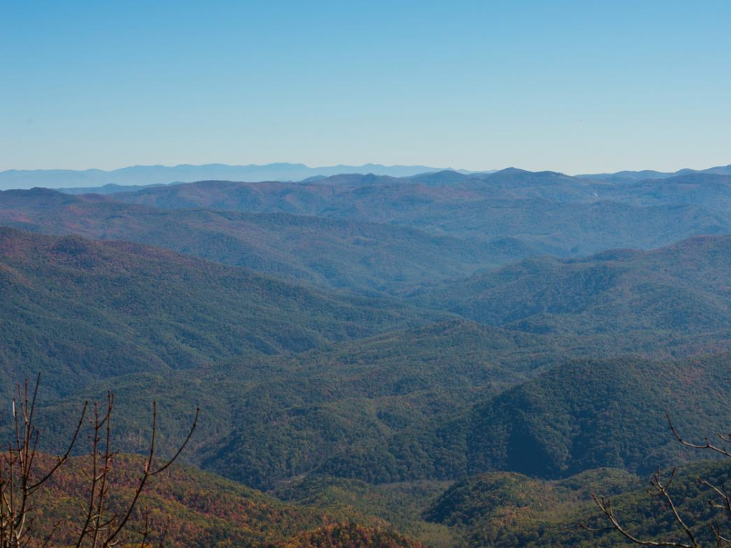 A panoramic view from atop Mt. Cammerer.