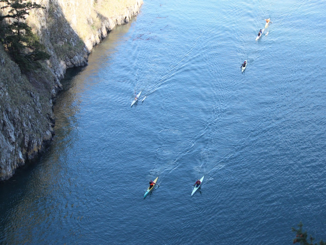 Kayakers race through Canoe Pass