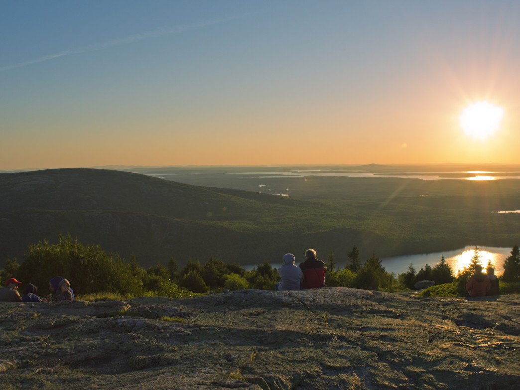 Watching the sunrise from Cadillac Mountain.